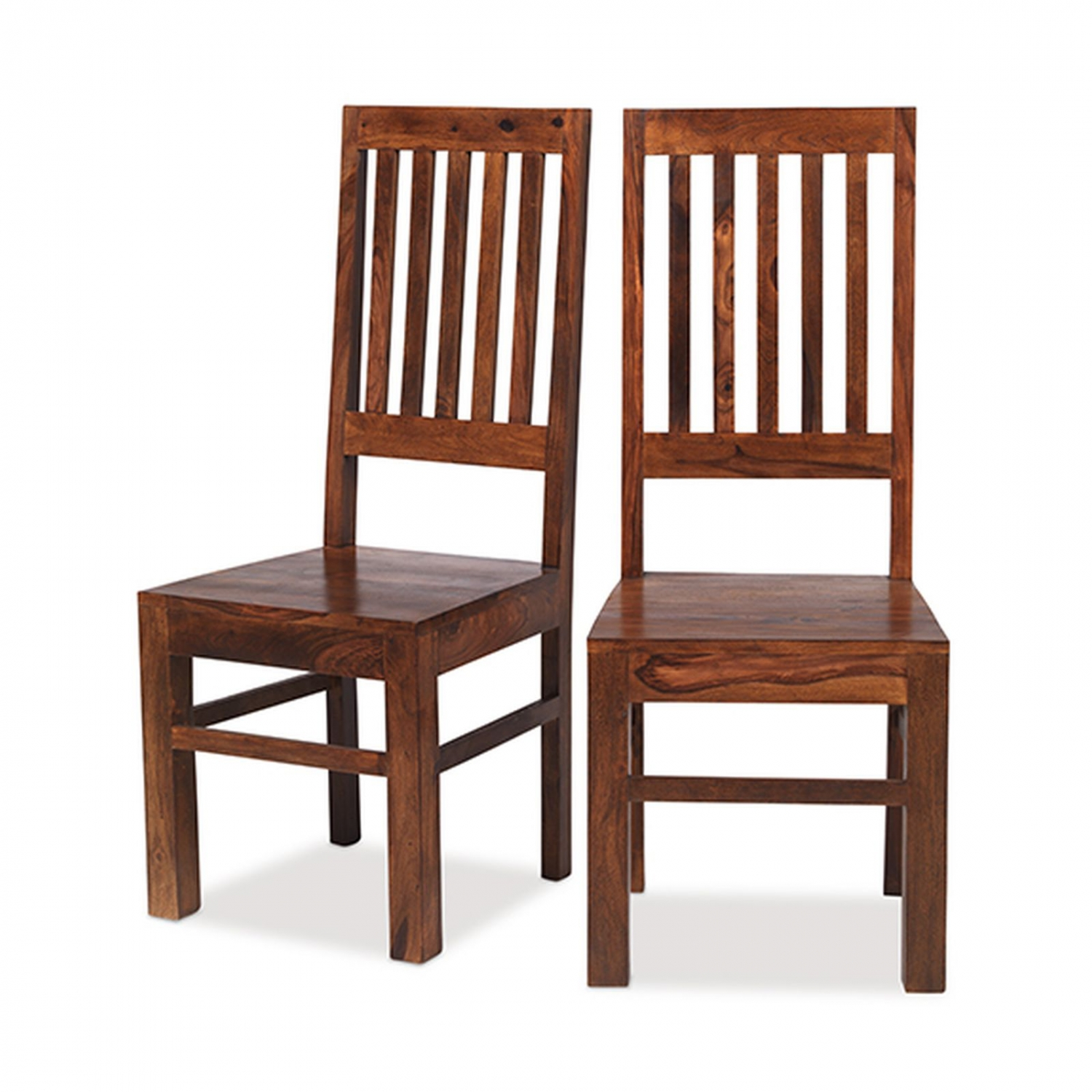 Bengal Sheesham Indian Furniture Set Of Six High Back Slatted Dining Chairs