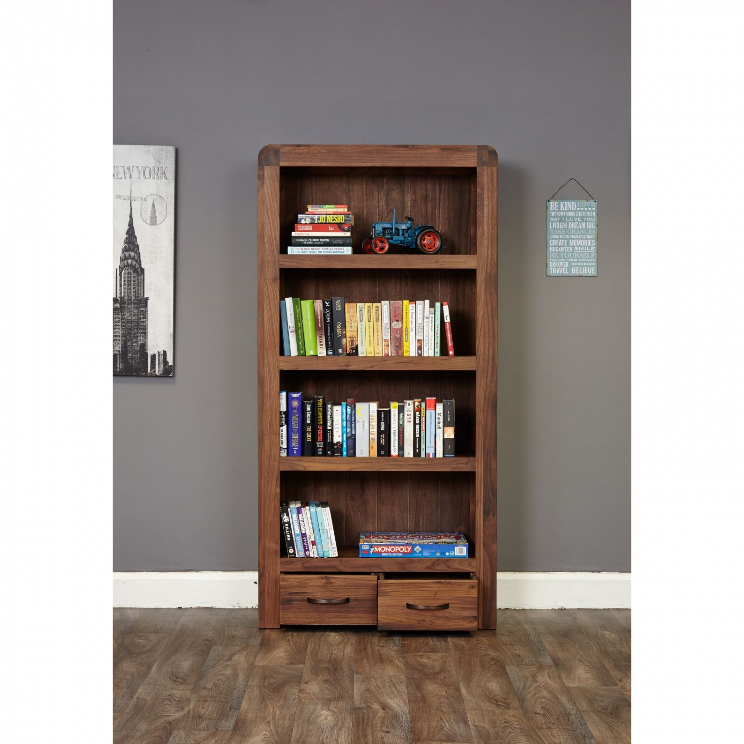 Details About Shiro Solid Dark Wood Walnut Modern Furniture Large Living Room Office Bookcase