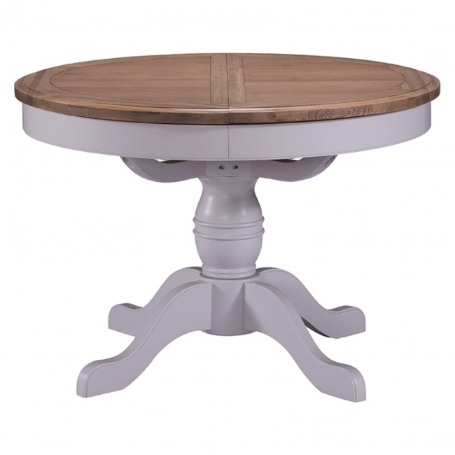 Details About Dune Grey Painted Oak Furniture Round Pedestal Extending Dining Table