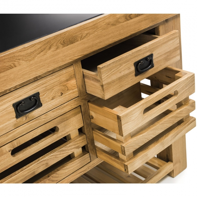 Holton Solid Chunky Oak Furniture Large Granite Top Kitchen Island Unit Worktop