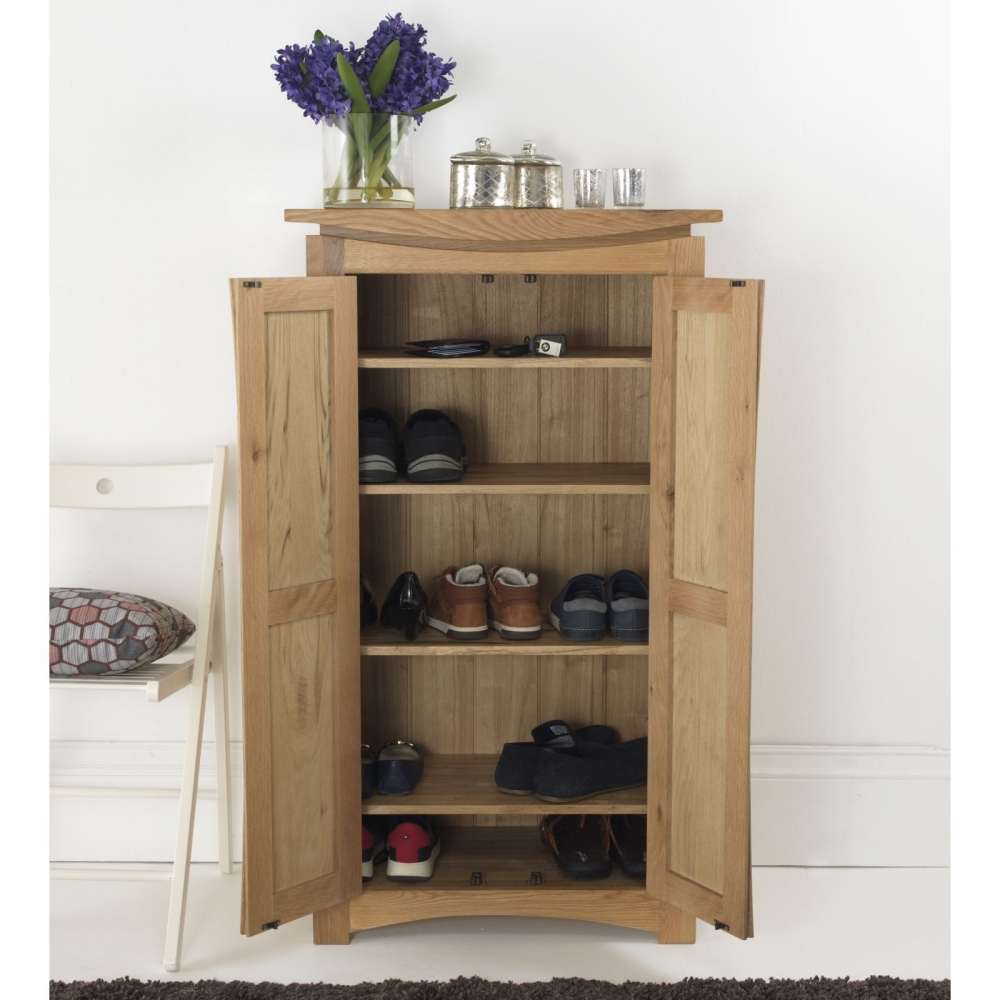 Crescent Solid Oak Hallway Furniture Shoe Accessories Hall Storage