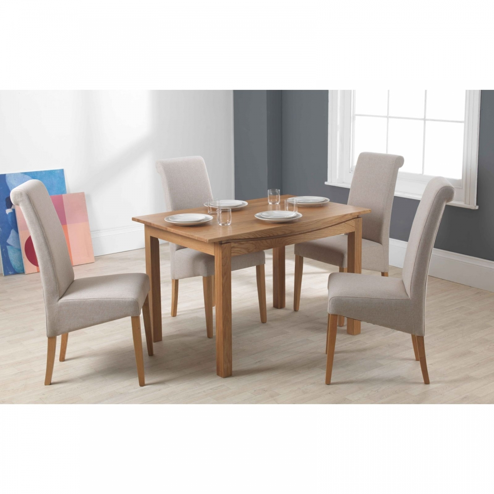 Crescent small dining table contemporary modern solid oak ...