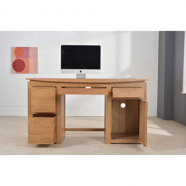 Crescent Solid Oak Furniture Large Pc Computer Desk With Filing Drawers