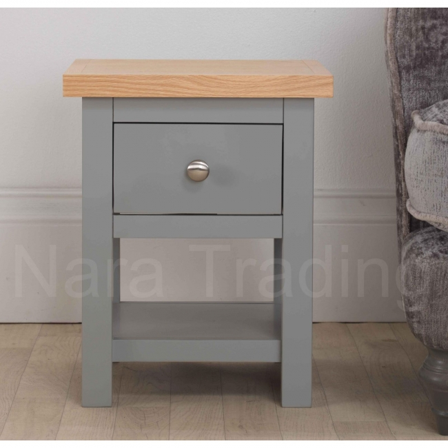 Richmond Small Lamp Side Table With Drawer Grey Painted