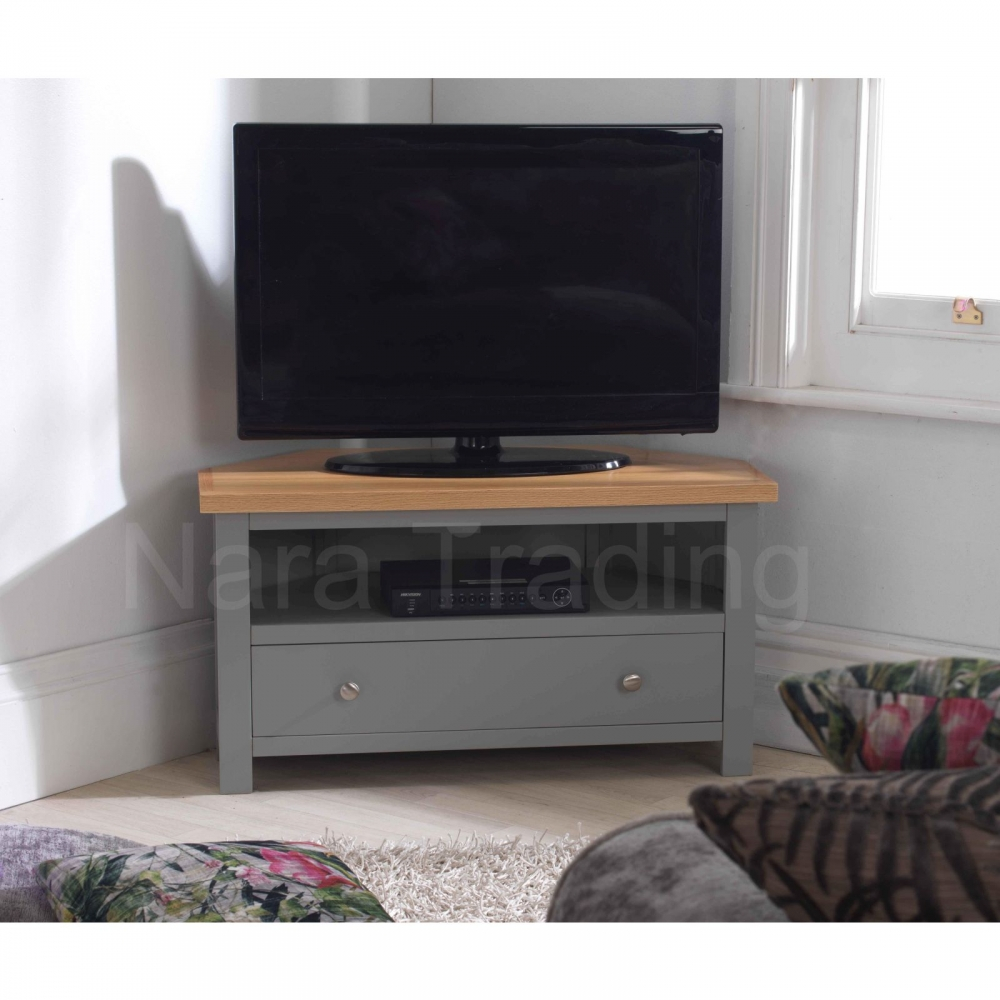 Living Room Furniture For Corner Cabinet: Richmond Corner Television Cabinet Grey Painted Solid Wood