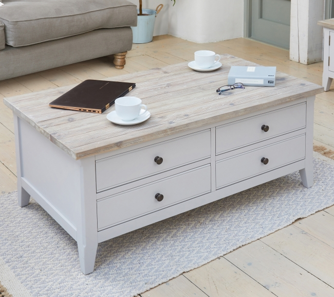 Large Wood Coffee Table: Langton Grey Painted Furniture Large Solid Wood Coffee