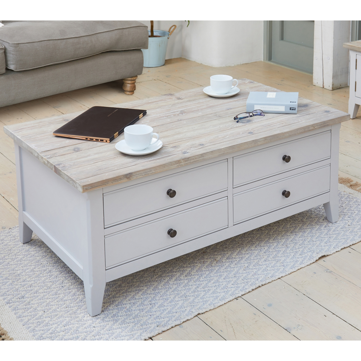 - Benson Grey Painted Furniture Large Solid Wood Coffee Table With