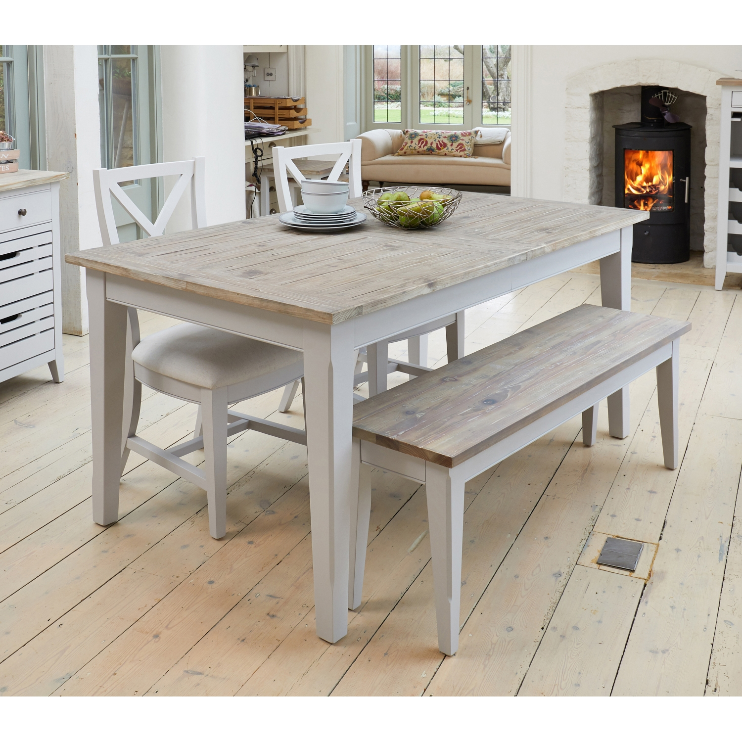 Benson Grey Painted Furniture Extending Dining Table Two