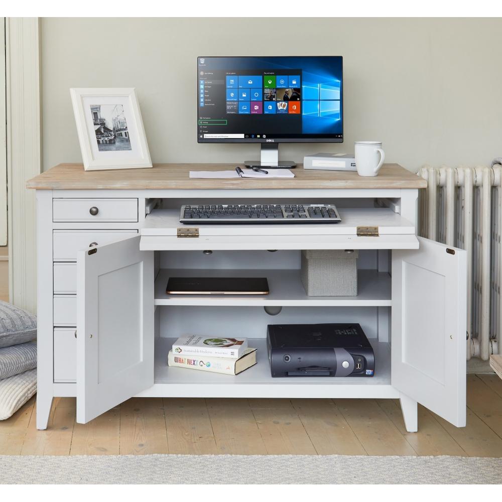 Signature Grey Painted Furniture Hidden Home Office Desk Workstation