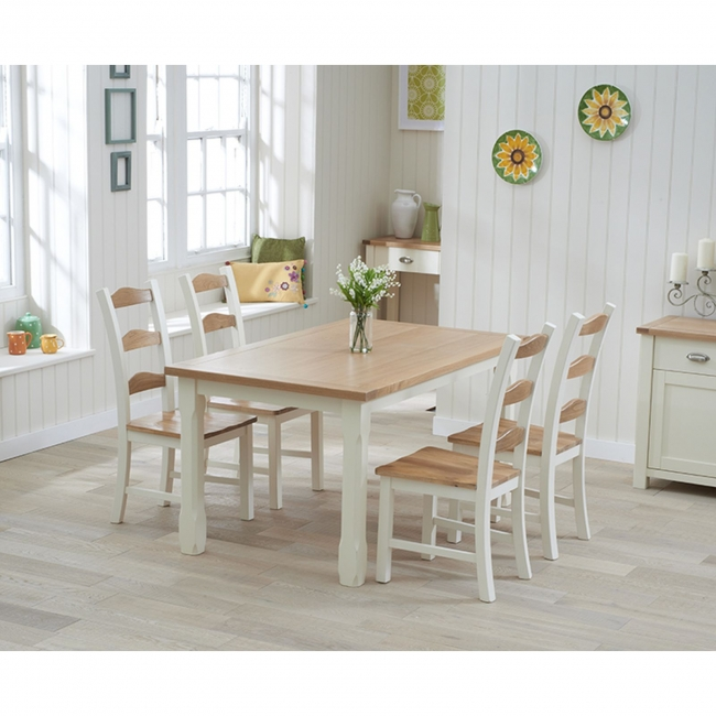 This Colman 6 Seater Oak Dining Table Set Includes 4 Matching Chairs