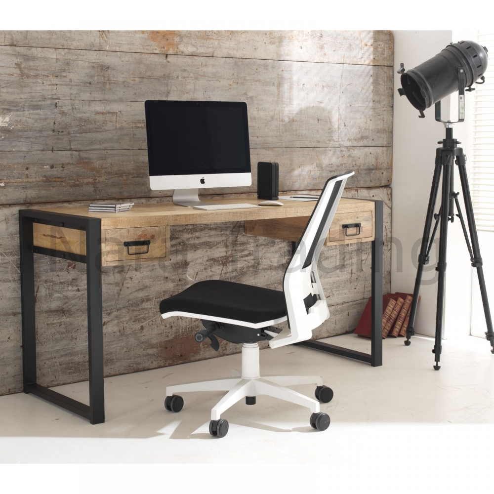 Harbour Indian Reclaimed Wood Furniture Computer Office Desk With Drawers