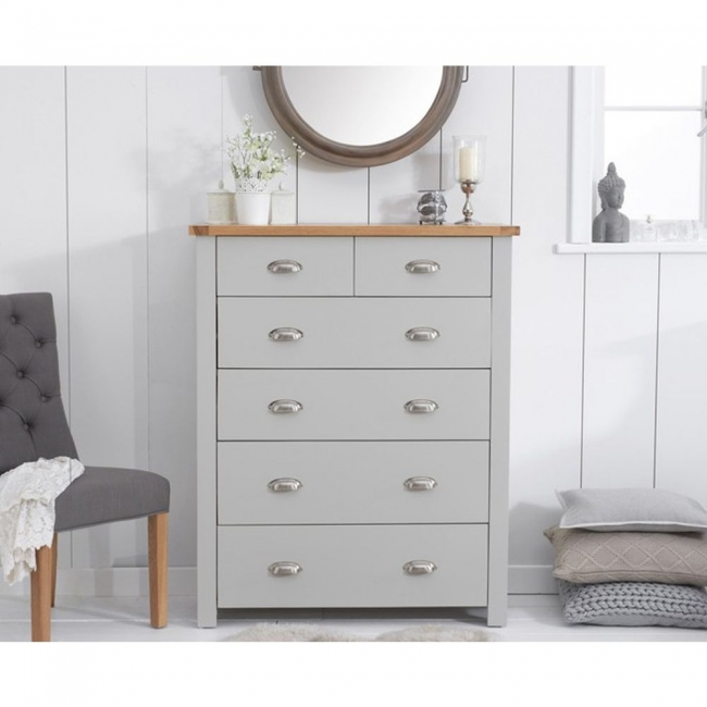Details About Sandringham Oak And Grey Painted Bedroom Furniture 2 Over 4 Chest Of Drawers