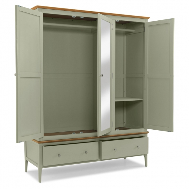 Galia Oak Furniture Sage Green Painted Triple Wardrobe
