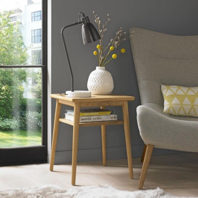 Asprey Oak Furniture Living Room Side End Lamp Table With Shelf