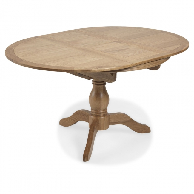 Details About Hatfield Oak Furniture Extending Round Circular Dining Table 110 150cm
