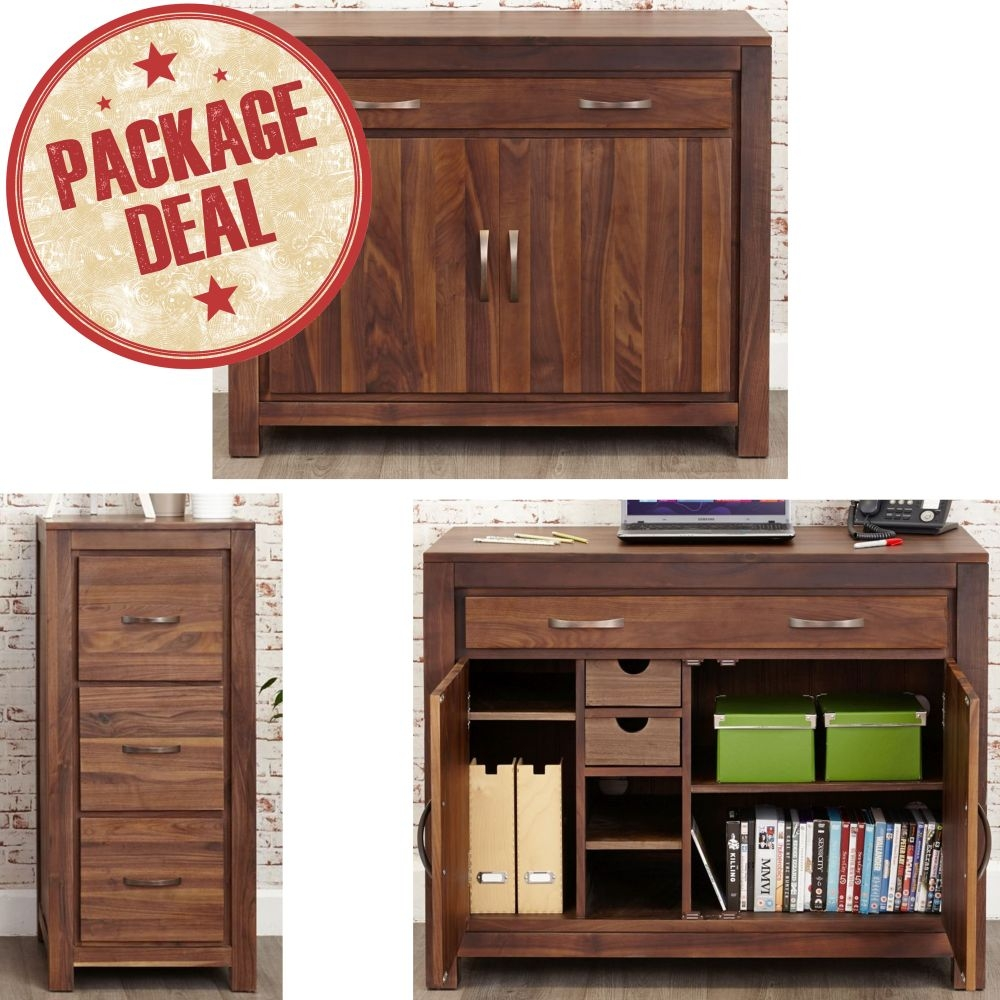 Details About Mayan Solid Walnut Furniture Hidden Desk And Three Drawer Filing Cabinet Package