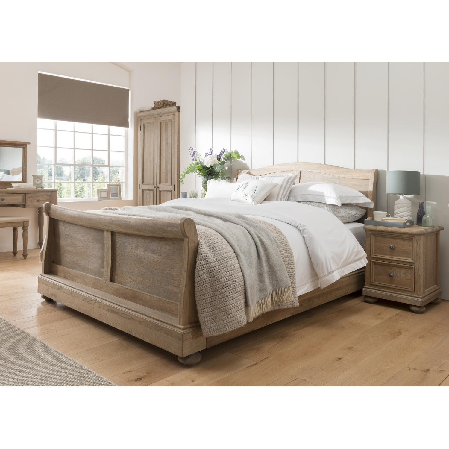 Grayson Solid Oak Bedroom Furniture Double Sleigh Bed Ebay