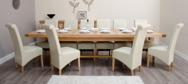 Houston Solid Oak Furniture Grand Dining Table And 12 Ivory Chairs