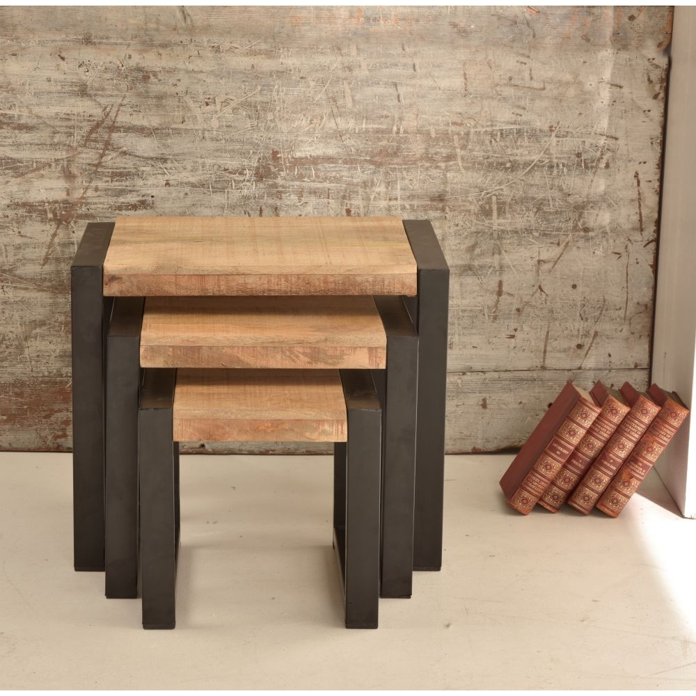 Harbour indian reclaimed wood furniture nest of three end coffee tables