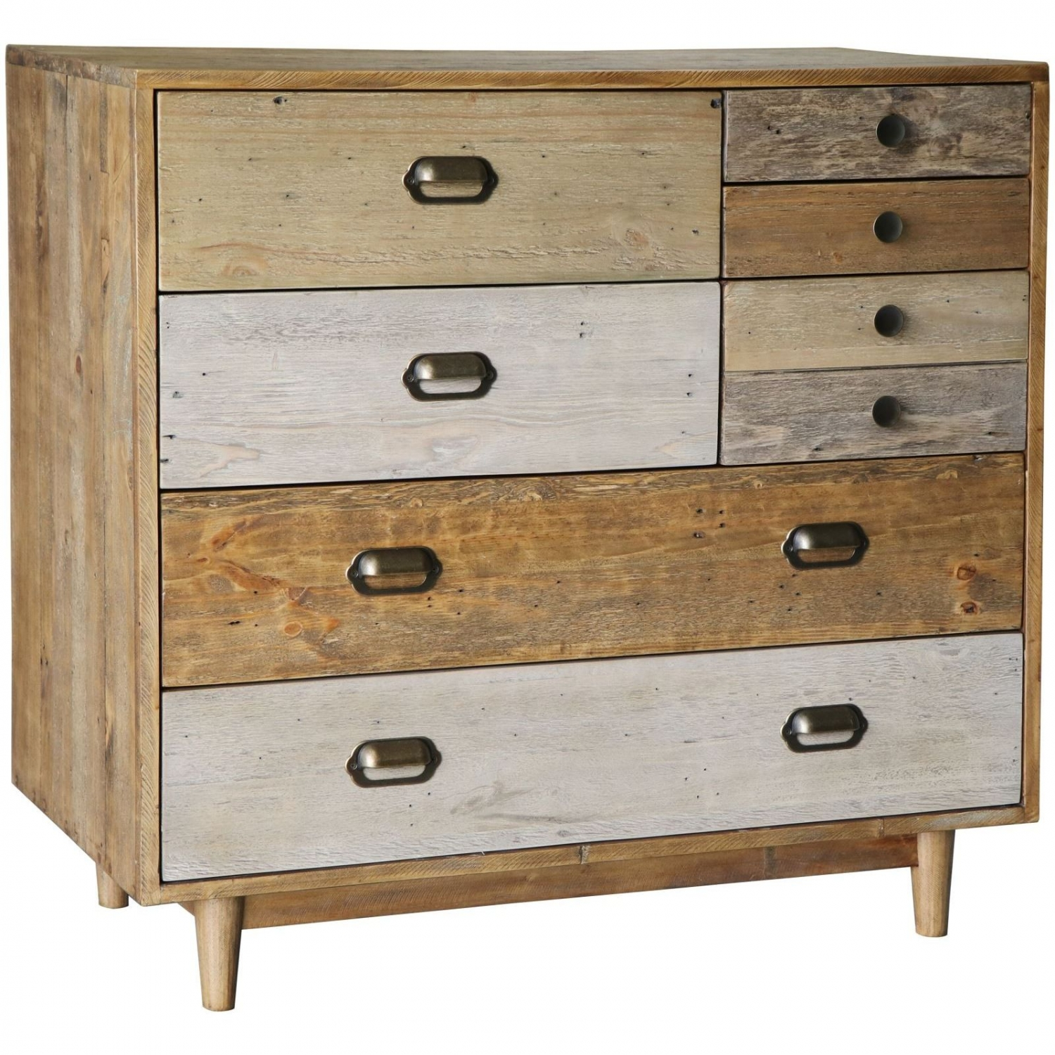 Details About Mordin Reclaimed Pine Bedroom Furniture 7 Drawer Chest Of Drawers With Legs