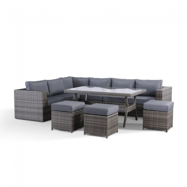 Sensational Details About Layla Grey Garden Outdoor Furniture Corner Sofa With Dining Table And 3 Stools Alphanode Cool Chair Designs And Ideas Alphanodeonline