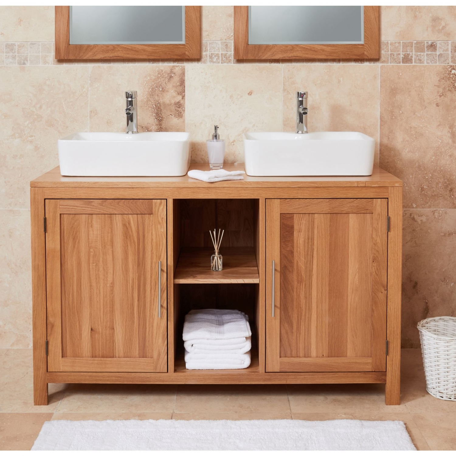 Fabulous Details About Conran Solid Oak Bathroom Furniture Two Door Dual Square Basin Sink Vanity Unit Home Remodeling Inspirations Genioncuboardxyz