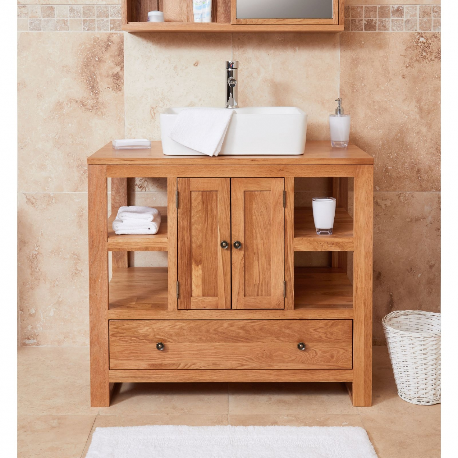 Solid Oak Bathroom Furniture Two Door