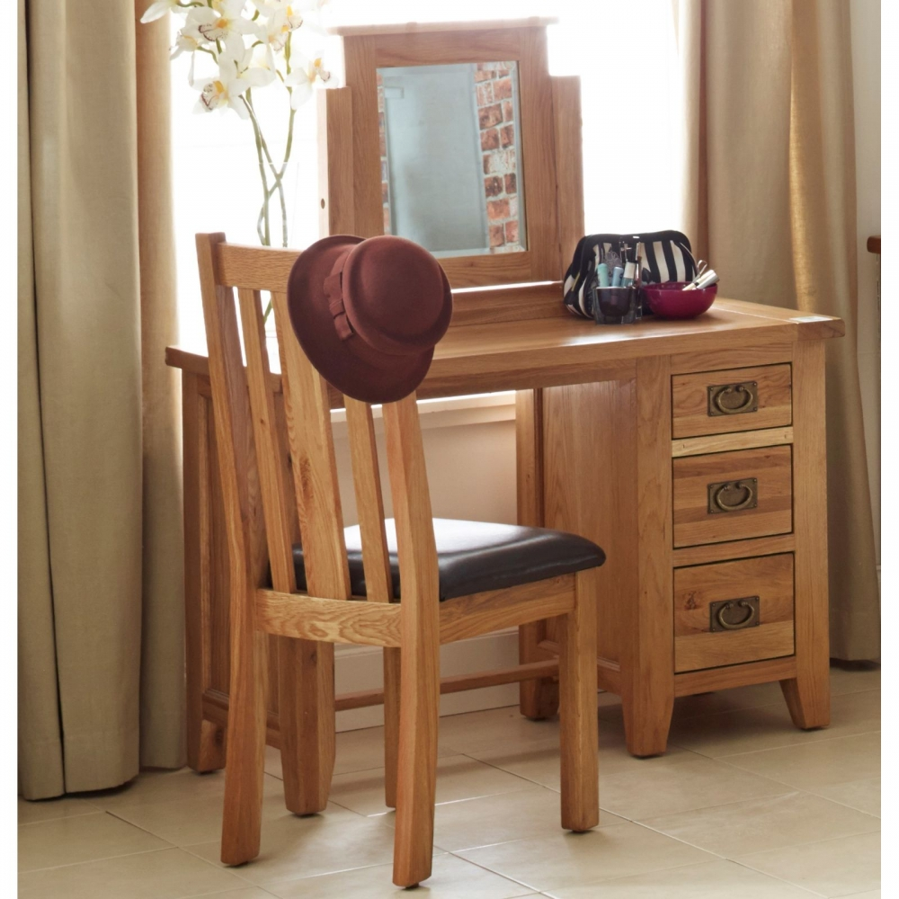 cordell oak home office furniture desk with three drawers