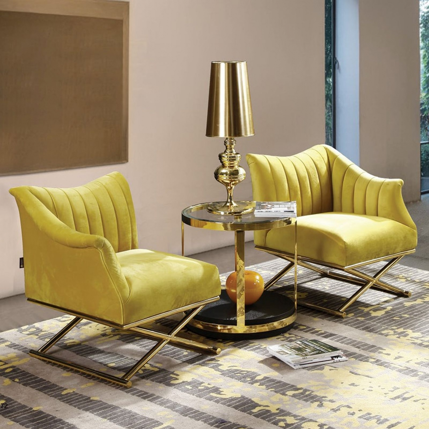 Magnificent Details About Kilian Contemporary Art Deco Furniture Pair Of Luxury Cross Base Yellow Chairs Creativecarmelina Interior Chair Design Creativecarmelinacom