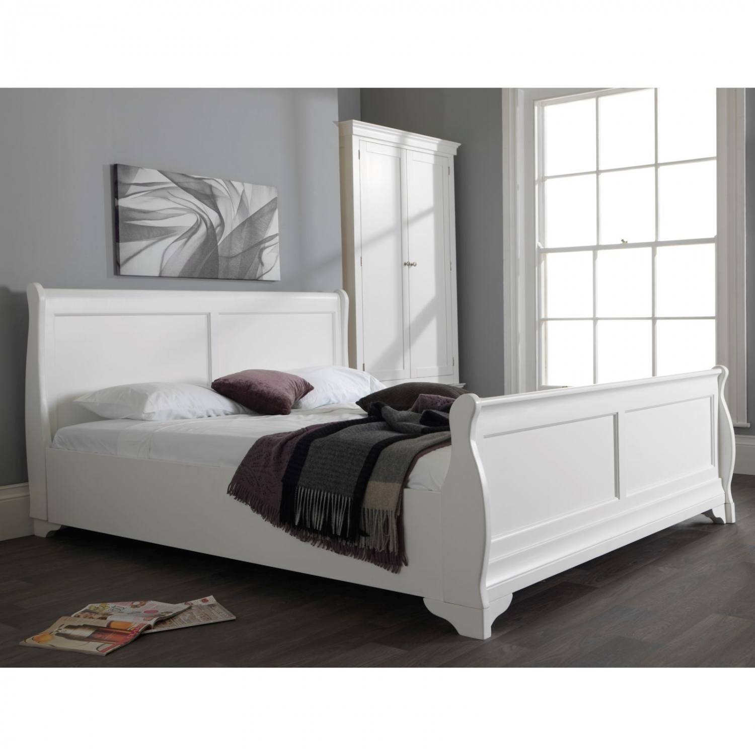 Jolie Oak White Painted Bedroom Furniture Super King Size Sleigh