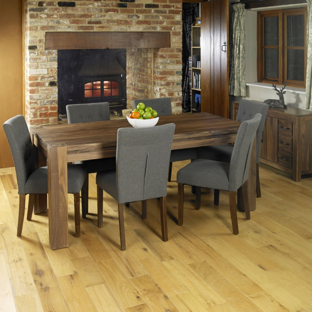 Wide Dining Room Tables: Shiro Solid Walnut Dining Room Furniture Large Eight