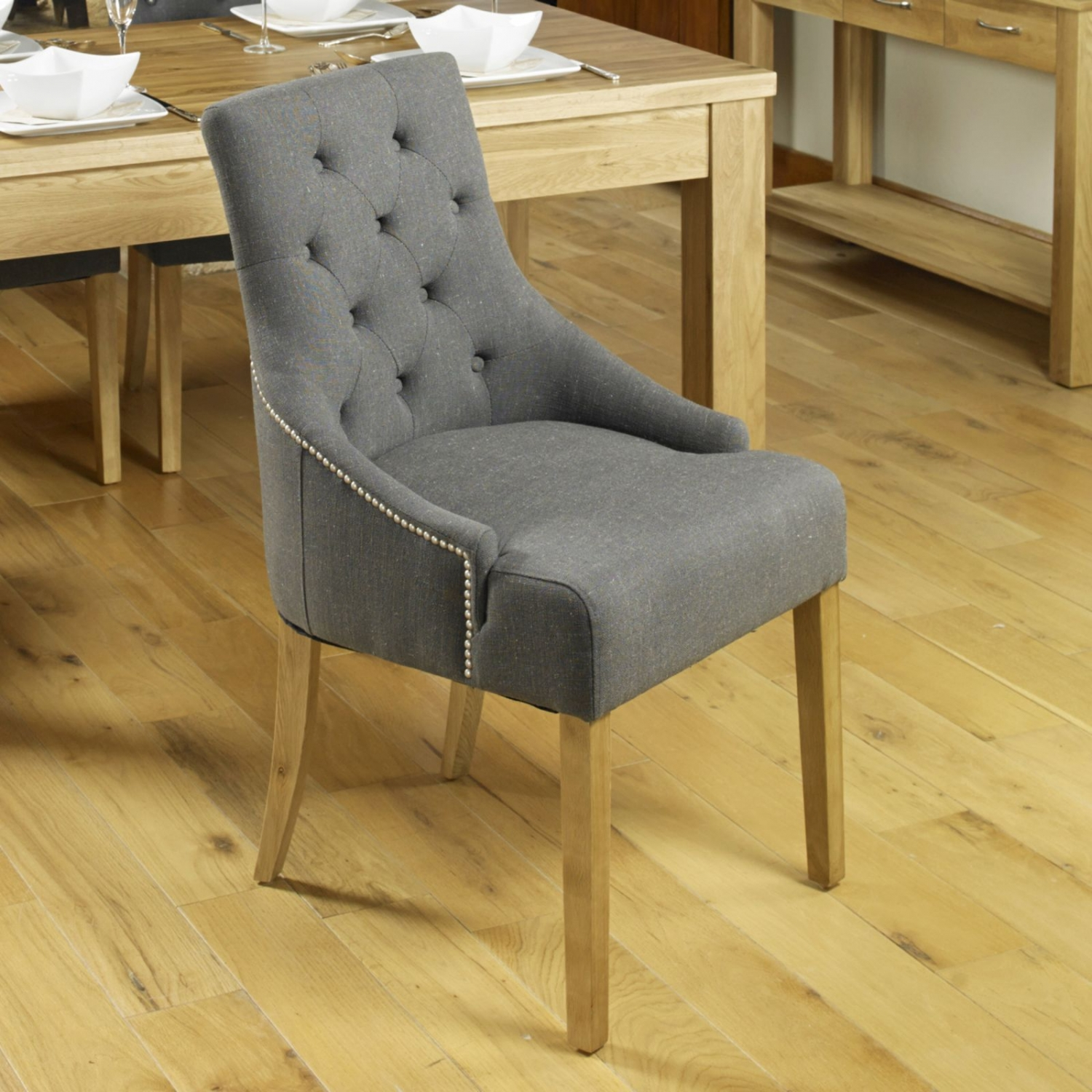 Conran Solid Oak Furniture Set Of Two Flare Back Luxury Dining Chairs