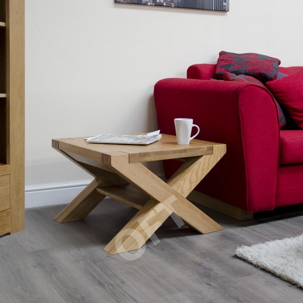 Michigan Solid Oak Furniture Square Cross Leg Coffee Table