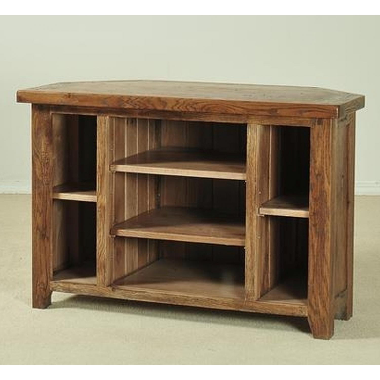 Durham solid oak living room furniture corner TV DVD ...