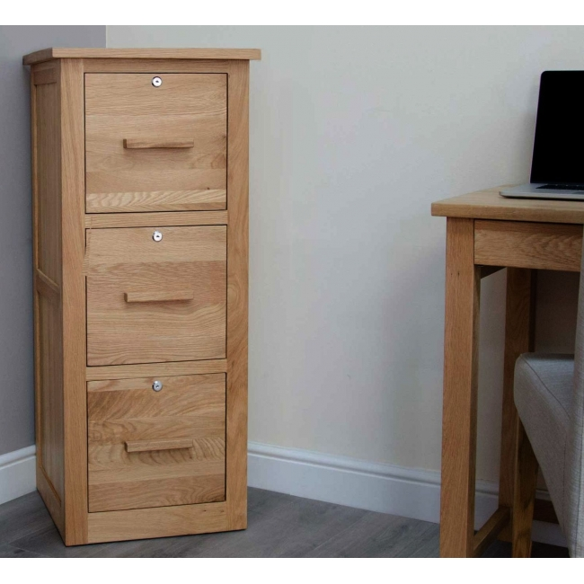 Arden Solid Oak Office Furniture Large Three Drawer Filing