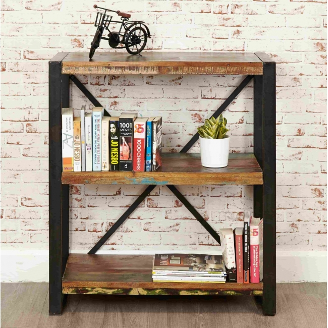 Details About Urban Chic Reclaimed Wood Furniture Low Small Open Living Room Office Bookcase
