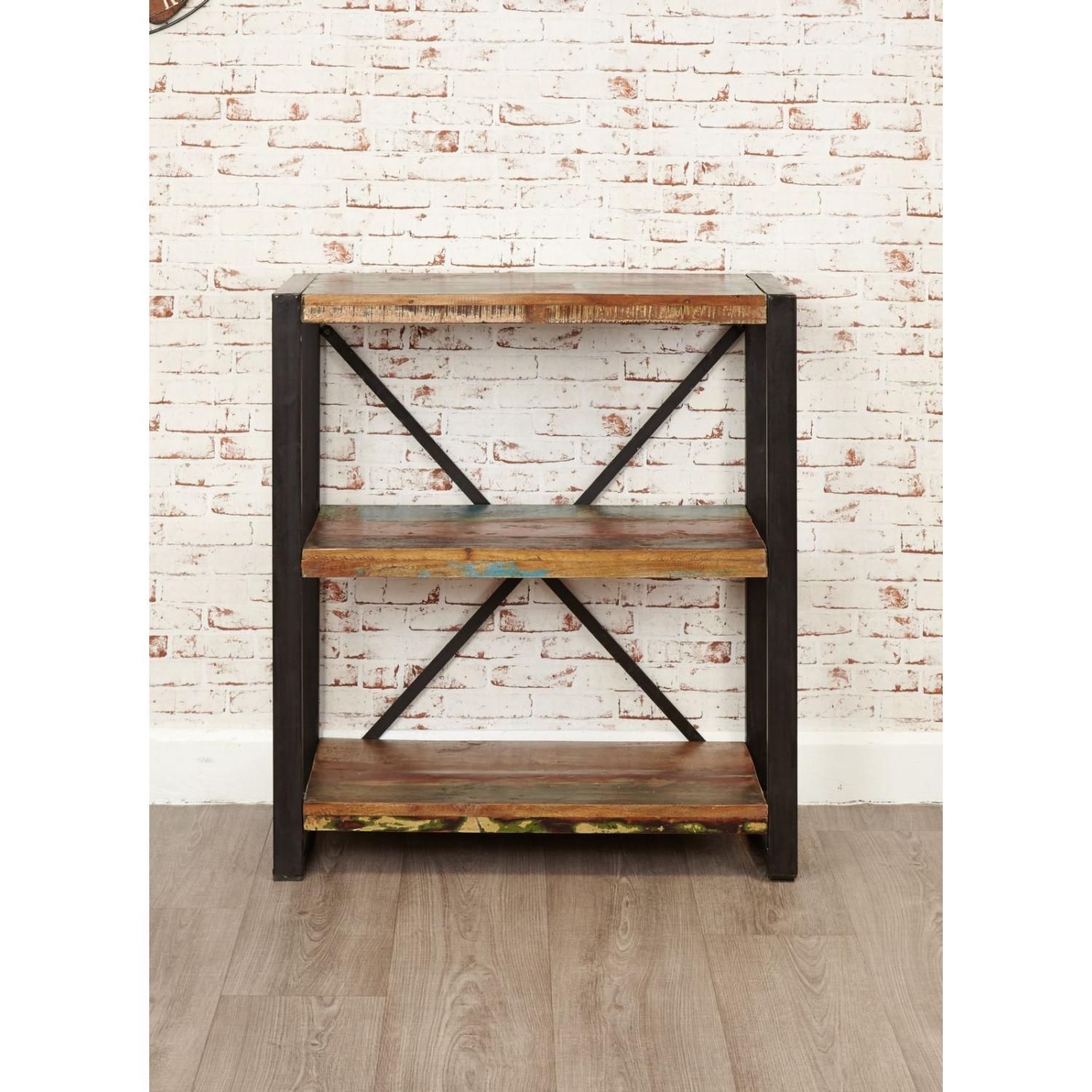 Details About Agra Reclaimed Wood Furniture Low Small Open Living Room Office Bookcase