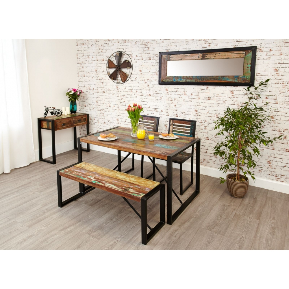 Wood Dining Table Bench: Urban Chic Reclaimed Wood Indian Furniture Dining Table