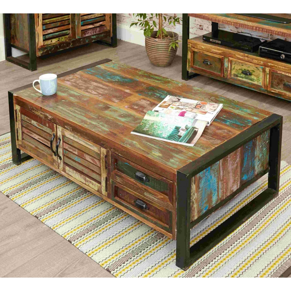 Indian Reclaimed Wood Coffee Table: Urban Chic Reclaimed Indian Wood Furniture Storage Coffee