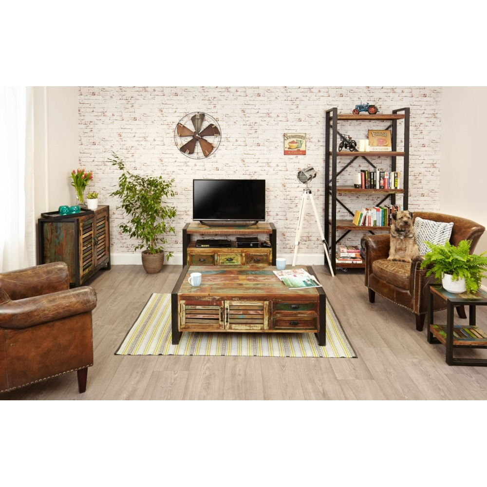 Urban Chic reclaimed indian wood furniture storage coffee table with drawers | eBay