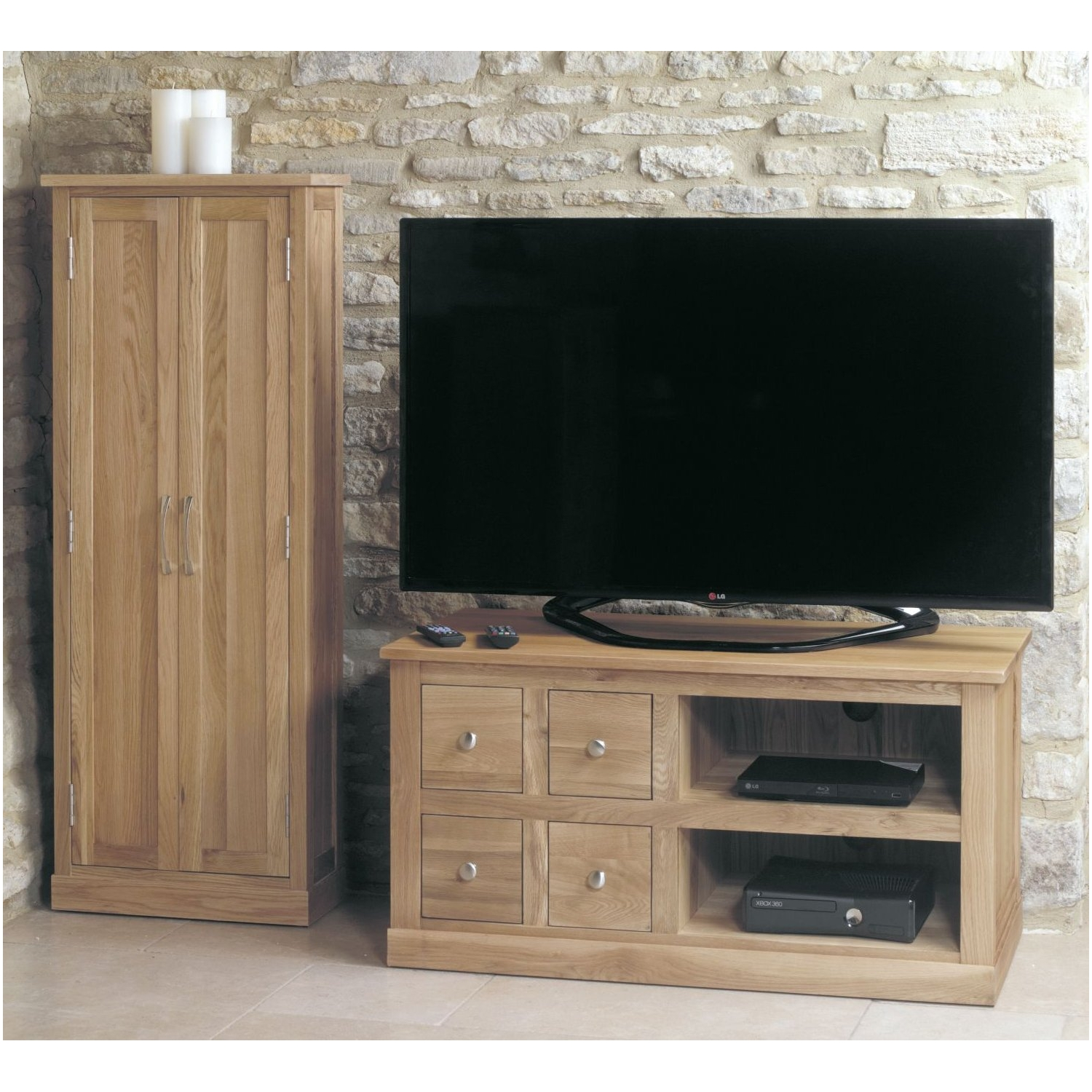 mobel solid oak living room furniture small four drawer tv cabinet stand unit