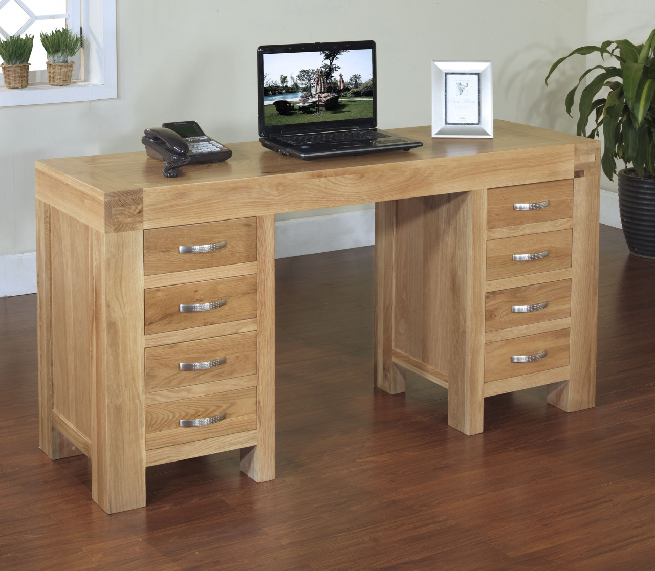 Langton solid oak office furniture large twin pedestal laptop ...