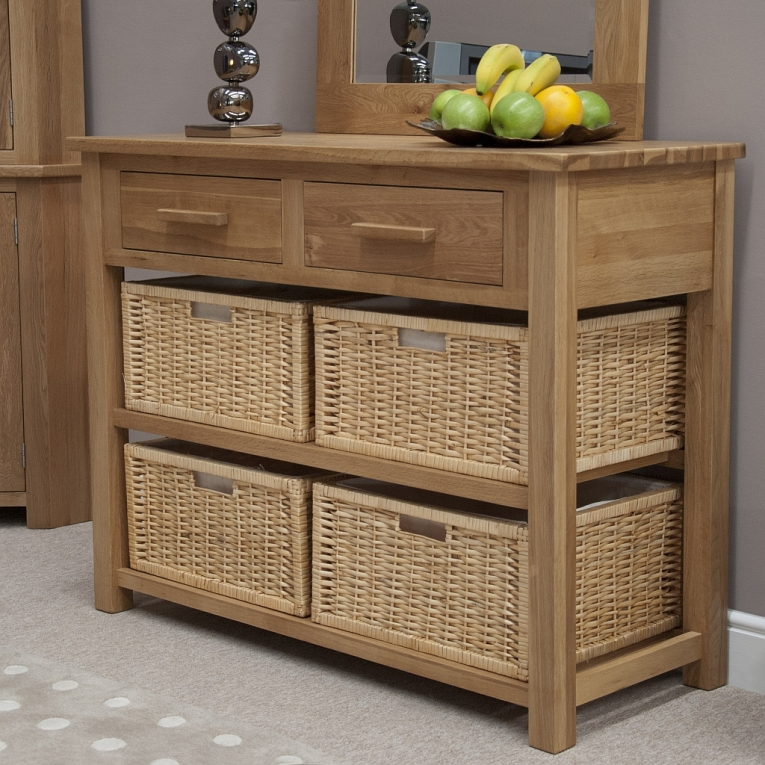 Windsor Solid Oak Furniture Basket Hall Console Table