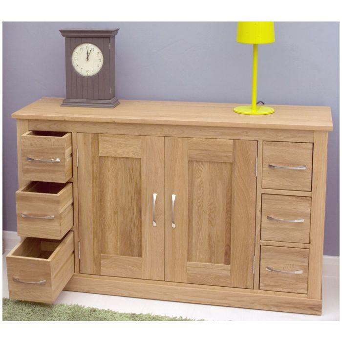 mobel solid oak furniture six drawer dining room storage sideboard and felt pads