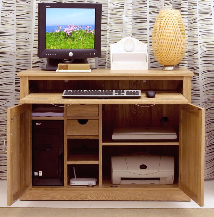 Mobel Solid Oak Furniture Hidden Home Office Computer Pc Desk And
