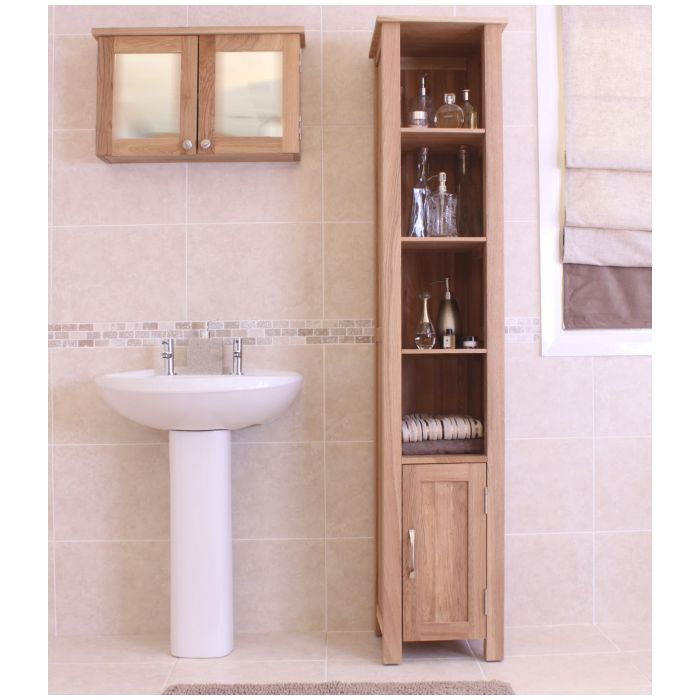tall bathroom cabinets uk mobel solid oak furniture bathroom storage cabinet ebay 26970