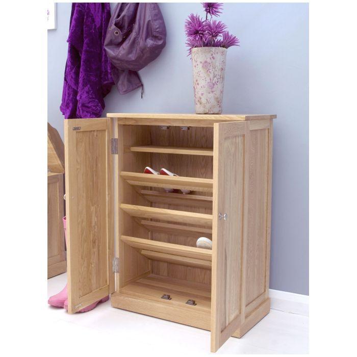 Mobel solid oak furniture shoe storage cabinet rack and felt pads ...