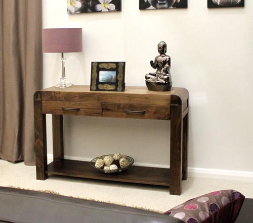 shiro solid walnut dark wood hallway furniture console hall table ebay. Black Bedroom Furniture Sets. Home Design Ideas
