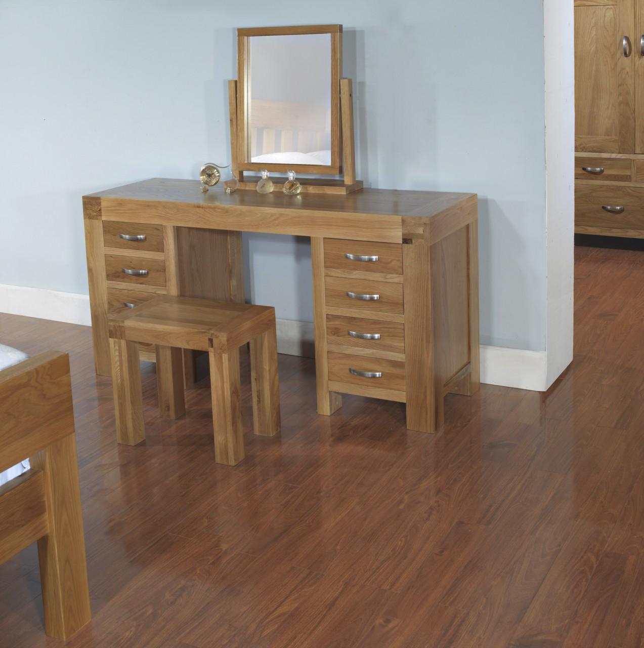 Rivermead Solid Modern Oak Bedroom Furniture Dressing Table, Stool And  Mirror