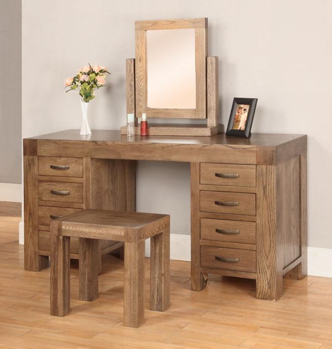 Sandringham solid dark oak bedroom furniture dressing table mirror ...